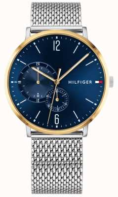 Tommy Hilfiger Mens Milanese Stainless Steel Blue Dial Gold Plated Case 1791505