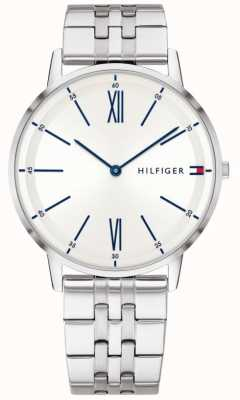 Tommy Hilfiger Mens Stainless Steel Blue Accented Silver Dial 1791511