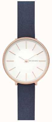 Skagen Womens Karolina Blue Leather Strap Rose Gold Case Watch SKW2723