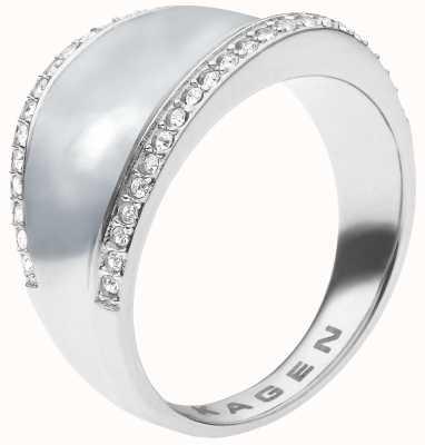 Skagen Womens Stainless Steel Crystal Pearl Ring SKJ0167040505