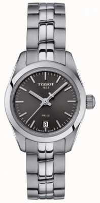 Tissot Ladies PR100 Stainless Steel Bracelet Black Dial Watch T1010101106100