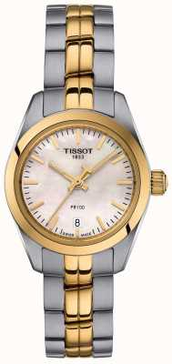 Tissot Ladies PR100 Two Tone Bracelet Mother Of Pearl Dial Watch T1010102211100