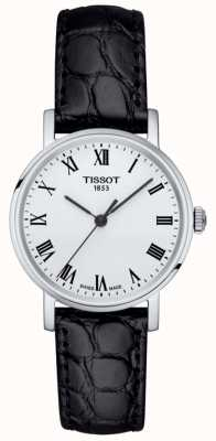 Tissot Womens Classic Everytime Black Leather Strap White Dial T1092101603300