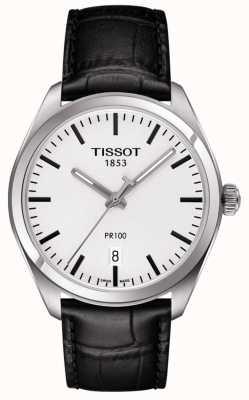 Tissot Mens PR100 Black Leather Strap Grey Dial T1014101603100