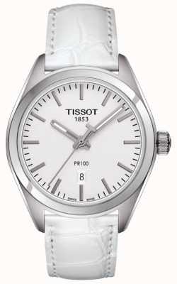 Tissot Womens PR100 White Leather Strap Silver Dial T1012101603100