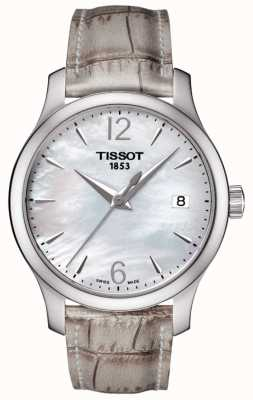 Tissot Womens Tradition Mother Of Pearl Dial Grey Strap T0632101711700