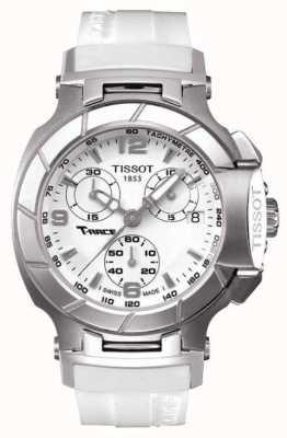 Tissot Mens T-Race Chronograph White Rubber Strap White Dial T0482171701700