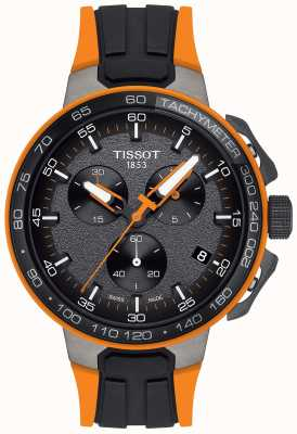 Tissot Mens T-Race Cycling Black Orange Rubber Strap T1114173744104