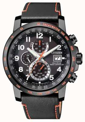 Citizen Mens Radio Controlled Leather Eco-Drive World Timer Chrono AT8125-05E