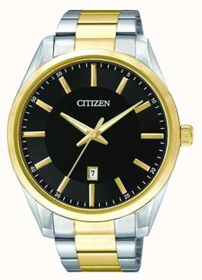 Citizen Mens Two Tone Quartz Black Dial Date BI1034-52E