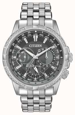 Citizen Eco-Drive Calendrier Stainless Steel 32 Diamonds Grey Dial BU2080-51H
