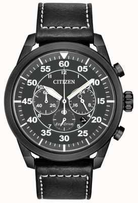 Citizen Men's Avion Eco-Drive Black Leather Black Dial Chronograph CA4215-21H