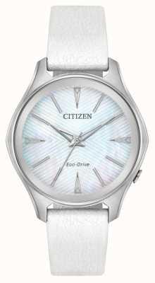 Citizen Womens Eco-Drive Silver Dial White Leather Strap EM0590-03D