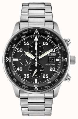 Citizen Mens Aviator Eco-Drive Black Dial Stainless Steel Chrono 100m CA0690-53E