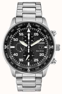 Citizen Mens Aviator Eco-Drive Black Dial Stainless Steel Chrono 100m CA0690-53E