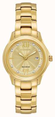 Citizen Womens Gold Plated Eco-Drive Crystal Set FE1132-84P