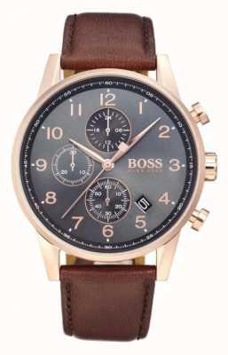 Hugo Boss Navigator Chronograph Date Display Black Dial Brown Leather 1513496