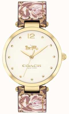 Coach Womens Park Watch Floral Leather Strap Gold Tone 14503178