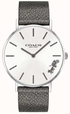 Coach Womens Perry Grey Leather Strap Watch 14503155