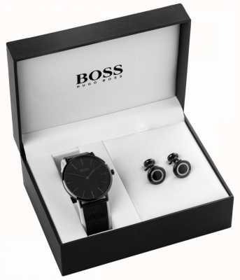 Boss Mens Black Ion Plated Watch And Cufflink Set 1570067