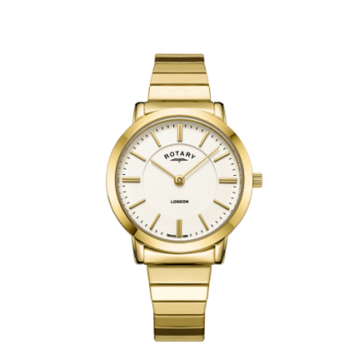 Rotary Womens London Gold Stainless Steel Expanding Bracelet Watch LB00766/03