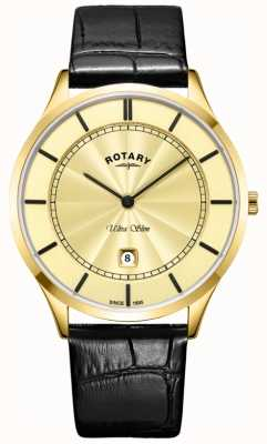 Rotary Mens Ultra Slim Gold Black Leather Strap GS08413/03