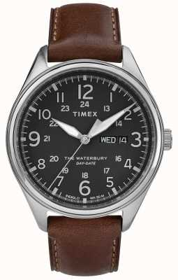 Timex Mens Waterbury Traditional Day Date Black Brown TW2R89000