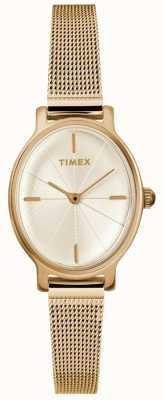 Timex Ladies Milano Oval Gold Mesh Watch TW2R94400D7PF