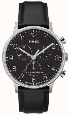 Timex Men's Waterbury Classic Chronograph Watch Black Strap TW2R96100D7PF