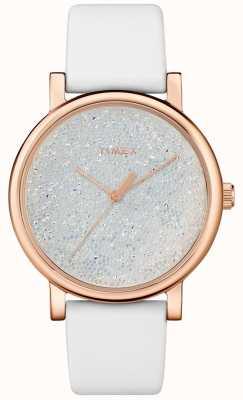 Timex Women's White Leather Watch With Swarovski Crystals TW2R95000D7PF