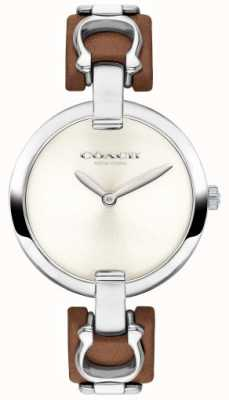 Coach Womens Chrystie Brown Leather And Steel Strap Watch 14503090