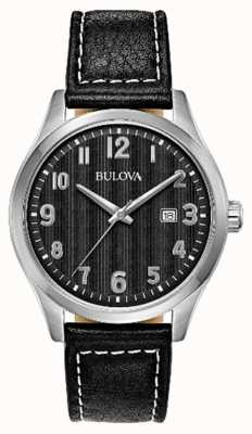 Bulova Mens Watch Black Dial black leather strap 96B299