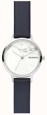 Skagen Womens White Marble Dial Leather Strap Watch SKW2719