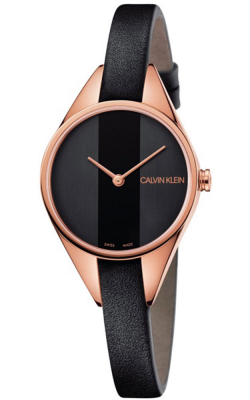 Calvin Klein Womens Rebel Watch Black Leather Strap With Rose Gold Tone K8P236C1