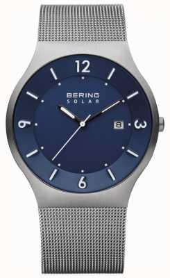 Bering Mens Solar Blue Dial Grey Stainless Steel Mesh Strap 14440-007