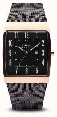 Bering Mens Solar Rose Gold Polished Square, Black Mesh Strap 16433-166