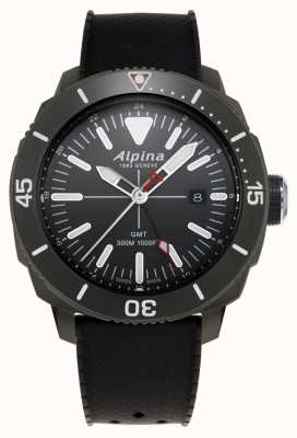 Alpina Mens Seastrong Diver GMT Black Rubber Strap AL-247LGG4TV6