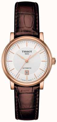 Tissot Womens Carson Automatic Brown Leather Strap Rose Gold Plated T1222073603100