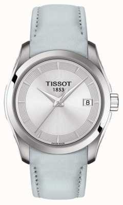 Tissot Womens Couturier Light Blue Strap Silver Dial T0352101603102