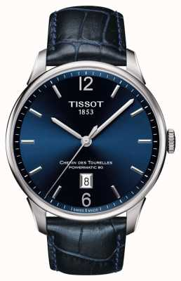Tissot Mens Chemin Des Tourelles Blue Leather Strap Blue Dial T0994071604700