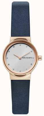 Skagen Ladies Freja Watch, Blue Leather Strap, Silver Face SKW2744