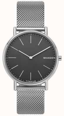 Skagen Mens Signature Stainless Steel Mesh Bracelet Black Dial SKW6483