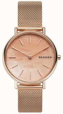 Skagen Ladies Signatur Rose Gold Stainless Steel Bracelet Pink Dial SKW2732