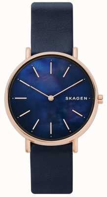 Skagen Ladies Signatur Blue Leather Strap Mother Of Pearl Face SKW2731