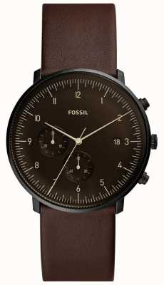 Fossil Mens Brown Leather Strap Stainless Steel Case Brown Dial FS5485