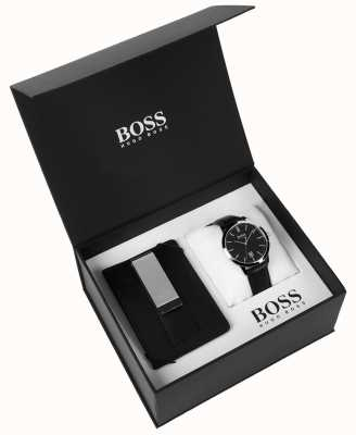 Hugo Boss Mens Box Set Money Clip Classic  Black Dial Black Leather 1570065