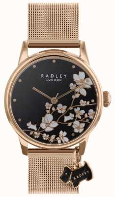 Radley Ladies Watch Trailing Flower Mesh Strap Black Dial RY4346