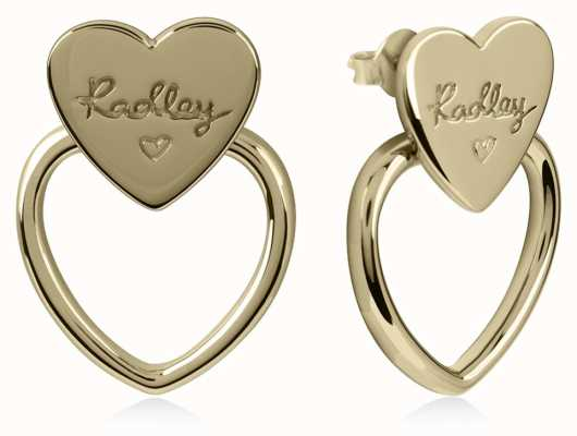 Radley Jewellery Gold Plated Silver Double Heart Stud Earrings RYJ1038