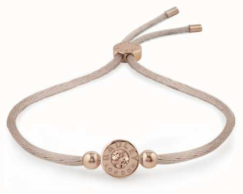 Radley Jewellery Rose Gold/mink Vintage Rose Stone Set Friendship Bracelet RYJ3016