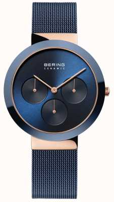 Bering Ceramic | Polished Rose Gold Case | Blue Dial 35036-367